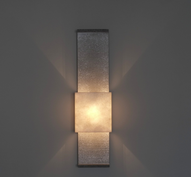 Gorgeous contemporary architectural wall light, up and down lighter, unusual artisanal wall applique made in bronze, faux bronze or stone finish with bronze ends.
