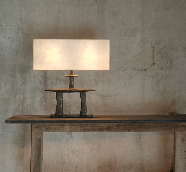 Inukshuk Bronze Table Lamp commissioned by Adam Lay Studio for custom built sailing yacht Inukshuk, which recently won Best Interior and Best Exterior at the Showboats International award ceremony.  The bronze table lamp is designed and made by Hannah Woo