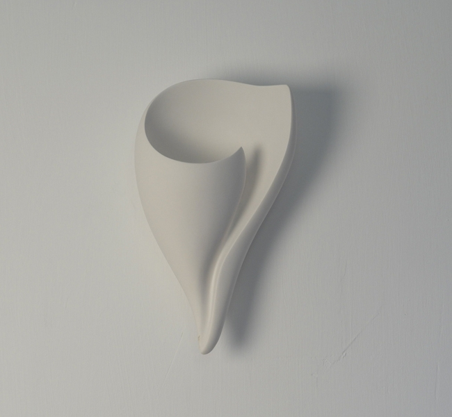 Sumptuous silky plaster shell wall light, delicate shell shaped wall applique hand sculpted in white plaster by artist and lamp maker Hannah Woodhouse