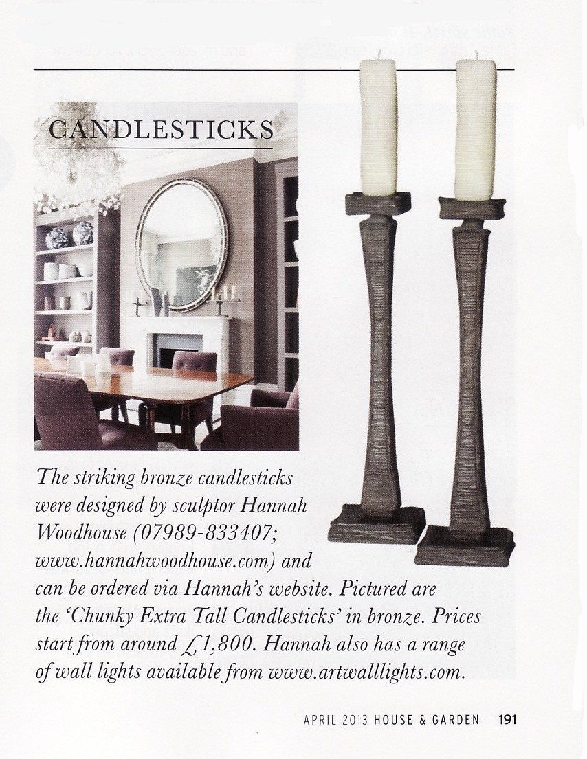 Bronze candlesticks by Hannah Woodhouse